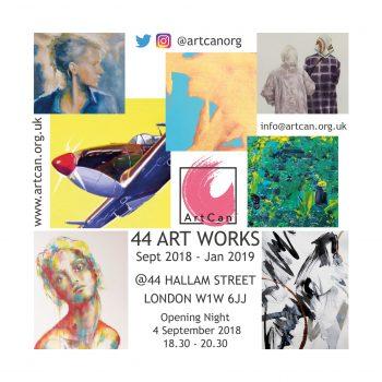 44 ArtWorks at 44 Hallam Street - ArtCan INVITE 4 SEPT 2018