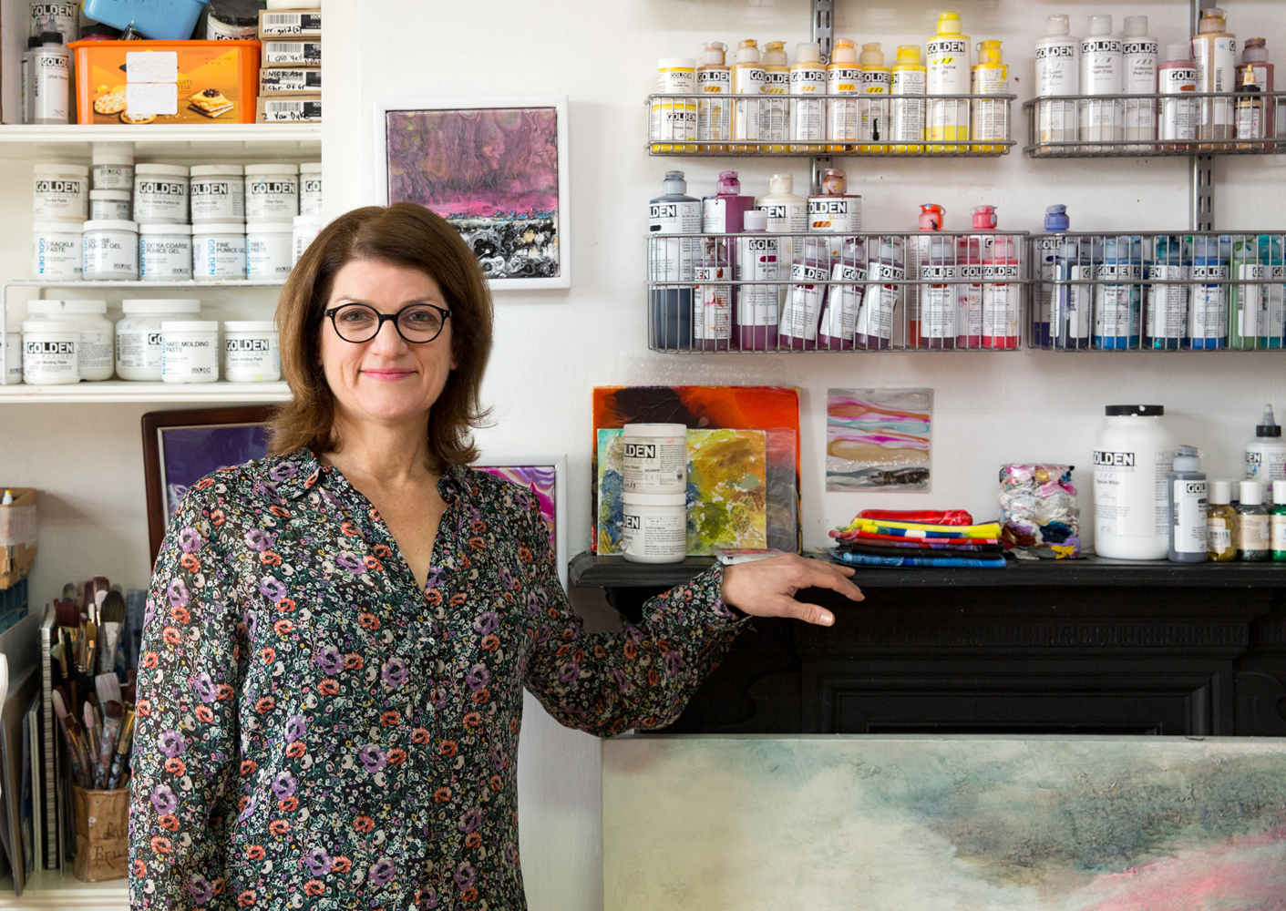 Laura Fishman in her studio space